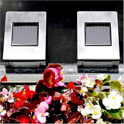 "Stainless Steel Outdoor Wall Mounted Solar Light - 5"" x 7"" x 2"""