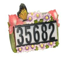 Solar House Number Light with Butterfly and Flowers