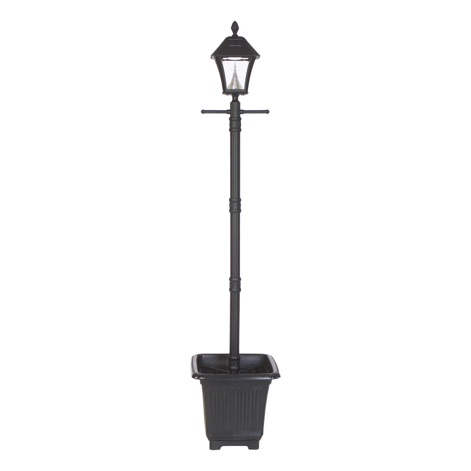 Baytown Planter-Base Solar Lamp Post and Lantern