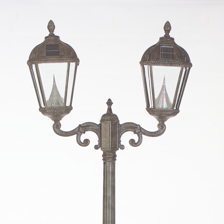 Royal Solar Lamp Post and Two Seven-LED Lanterns