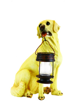 Yellow Labrador Dog With Lantern Solar Light - CE certified