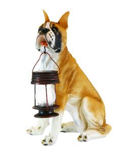 Boxer Dog With Lantern Solar Light - water resistant