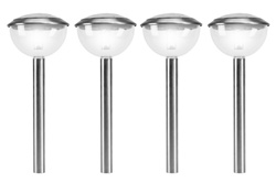Stainless Steel Dome Solar Light set of 4 (Pack of 4pcs)