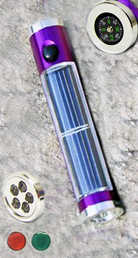 Solar Powered Adventure Flash Light & Compass(purple)